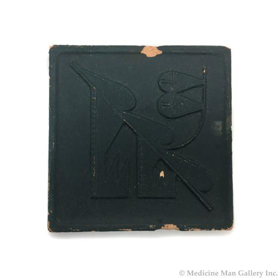 "Awa Tsireh (1895-1955) – San Ildefonso Hand Glazed Pottery Tile, c. 1920s, 5"" x 5"" (P3304-CO-51)"