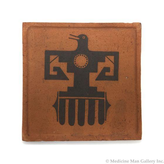 "Awa Tsireh (1895-1955) – San Ildefonso Pottery Tile with Thunderbird, c. 1920s, 5"" x 5"" (P3304-CO-55)"