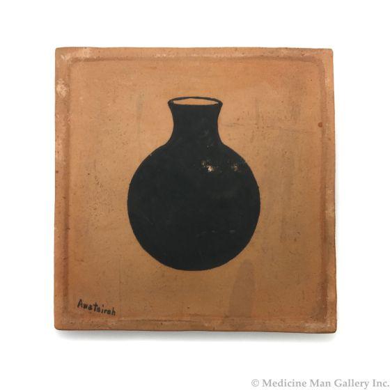 "Awa Tsireh (1895-1955) – San Ildefonso Pottery Tile with Olla Pot, c. 1920s, 5"" x 5"" (P3304-CO-71)"