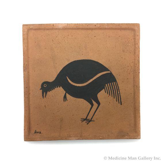 "Awa Tsireh (1895-1955) – San Ildefonso Pottery Tile with Bird, c. 1920s, 5"" x 5"" (P3304-CO-73)"