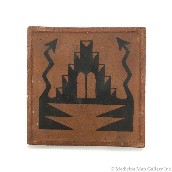 "Awa Tsireh (1895-1955) – San Ildefonso Pottery Tile with Lightning, c. 1920s, 5"" x 5"" (P3304-CO-77)"