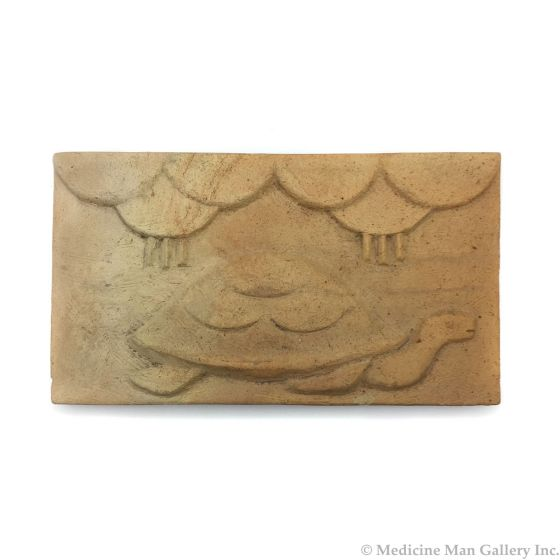 """Awa Tsireh (1895-1955) – San Ildefonso Pottery Tile with Turtle and Rainclouds, c. 1920s, 5"""" x 9"""" (P3304-CO-119)"""