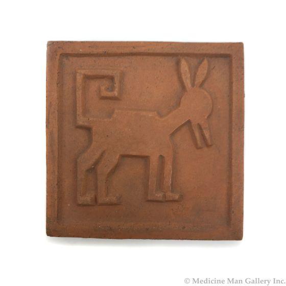 "Awa Tsireh (1895-1955) – San Ildefonso Pottery Tile with Animal, c. 1920s, 4"" x 4"" (P3304-CO-134)"