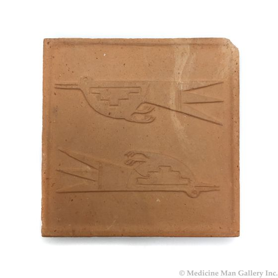 "Awa Tsireh (1895-1955) – San Ildefonso Pottery Tile with Birds, c. 1920s, 5"" x 5"" (P3304-CO-145)"