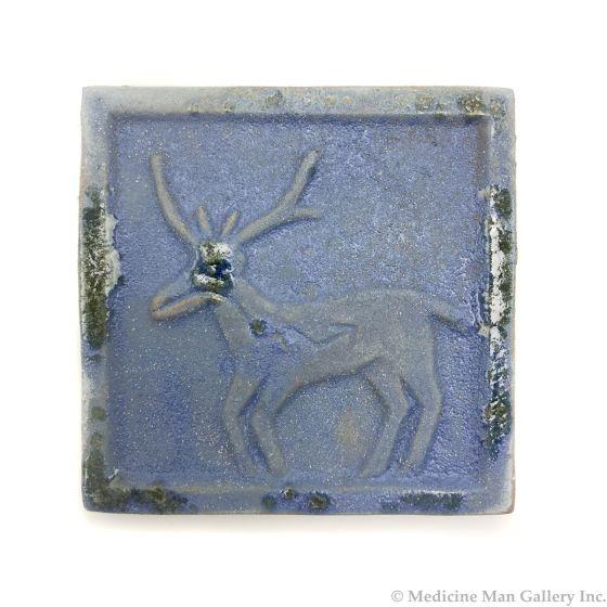 "Awa Tsireh (1895-1955) – San Ildefonso Pottery Tile with Deer, c. 1920s, 4"" x 4.25"" (P3304-CO-158)"