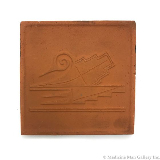 "Awa Tsireh (1895-1955) – San Ildefonso Pottery Tile with Bird, c. 1920s, 5"" x 5"" (P3304-CO-199)"