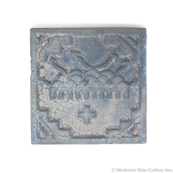 "Awa Tsireh (1895-1955) – San Ildefonso Hand Glazed Pottery Tile with Rainclouds and Cross, c. 1920s, 4"" x 4"" (P3304-CO-207)"