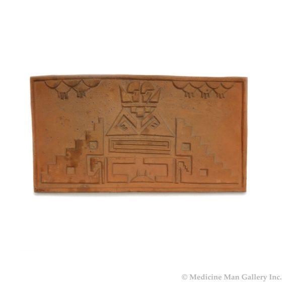 "Awa Tsireh (1895-1955) – San Ildefonso Pottery Tile with Rainclouds, c. 1920s, 5.5"" x 10"" (P3304-CO-234)"