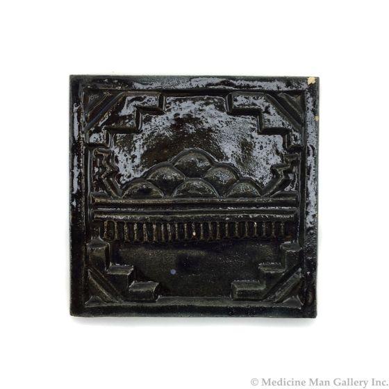 "Awa Tsireh (1895-1955) – San Ildefonso Hand Glazed Pottery Tile with Rainclouds, c. 1920s, 4"" x 4"" (P3304-CO-256)"