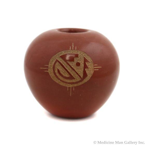 "Barbara Gonzales (b. 1943) - San Ildefonso Redware Jar with Carved Design c. 1975, 2.25"" x 2.5"" (P3363-93)"