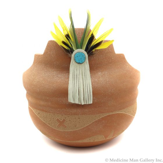 """Johnny Tse-Pe Gonzales (b. 1940) - San Ildefonso Micaceous Kiva Step Bowl with Turquoise Inclusions, Leather, Feathers, and Carved Avanyu Design, 10"""" x 9.75"""" (P91109-086-108)"""