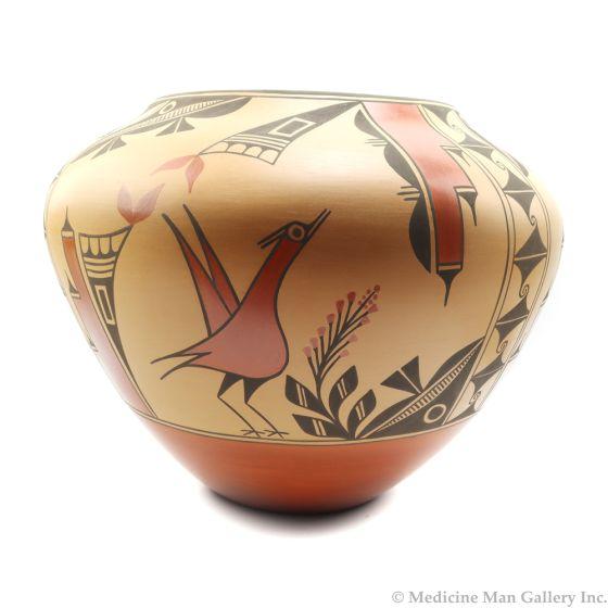 "Eleanor Pino Griego (b. 1953) - Zia Polychrome Olla with Bird Designs, 14.5"" x 16.5"" (P91138A-0120-064)"