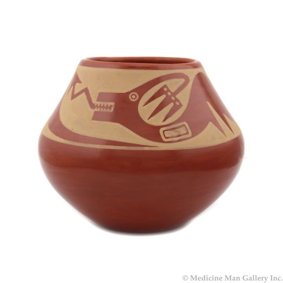 "Maria Martinez (1887-1980) and Popovi Da (1922-1971) - San Ildefonso Redware Jar with Carved Avanyu Design c. 1965, 5.5"" x 5.75"" (P92348A-0621-100)"