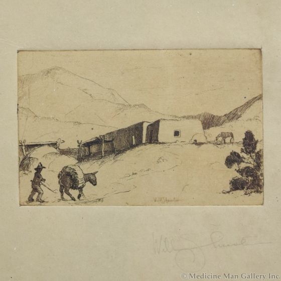 Will Shuster (1893-1969) - Adobe Home with Burro