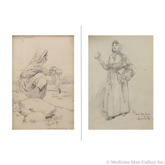 Fernand Harvey Lungren (1857-1932) - Washing - Santa Fe Double-Sided Drawing (PDC91660-0521-003)