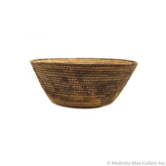 "Pima Basket with Geometric Design c. 1900-20s, 4.75"" x 12.25"" (SK3028)"