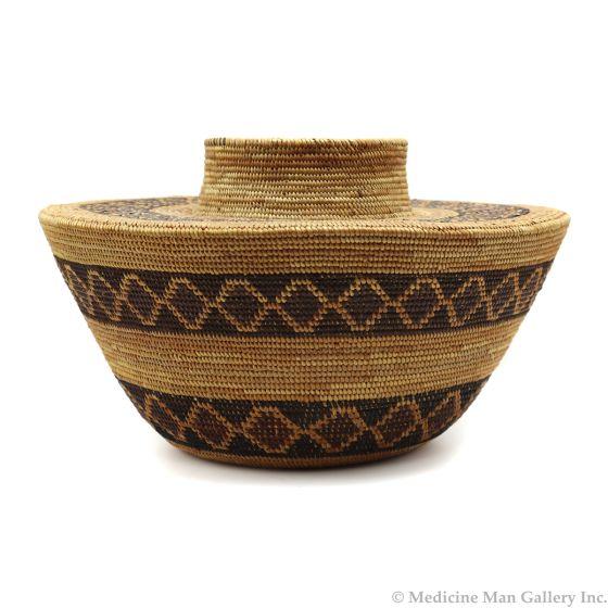 "Yokuts Polychrome Rattlesnake Design Bottleneck Basket c. 1890s, 5.5"" x 9.5"" (SK90230-1220-002)"