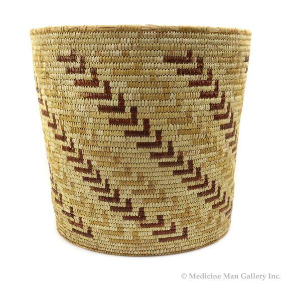 "Tohono O'odham Polychrome Basket with Whirling Log Designs c. 1930s, 10.5"" x 11"""