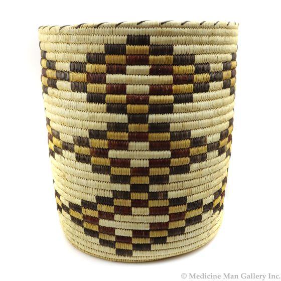 "Tohono O'odham Polychrome Basket with Diamond Designs c. 1980s, 15"" x 13.5"" (SK91138A-0120-017)"