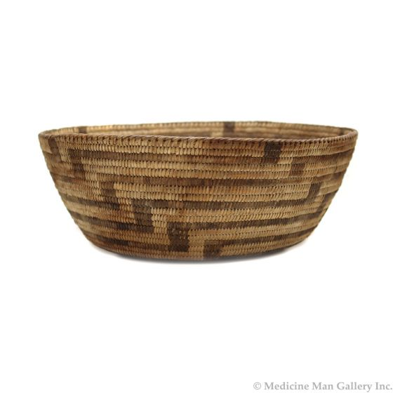 "Pima Basket with Geometric Design c. 1900s, 4.25"" x 11.75"" (SK91370A-0521-027)"