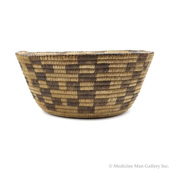"Pima Basket with Checkered Design c. 1920s, 5.25"" x 12.5"" (SK91619A-0117-003)"