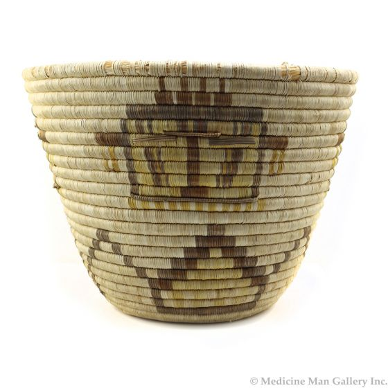 """Hopi Polychrome Coiled Basket with Kachina Pictorial c. 1920s, 11"""" x 15"""" (SK91855-096-002)"""