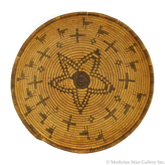 """Apache Basket with Star and Cross Pictorials c. 1890s-1900s, 3.25"""" x 11.5"""" (SK92306-1119-001)"""