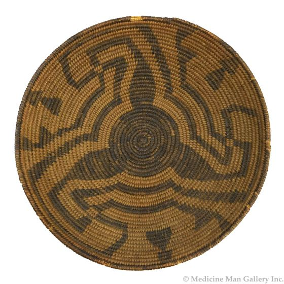 """Pima Tray with Abstract Whirling Log Design c. 1890s, 3.25"""" x 12.75"""""""