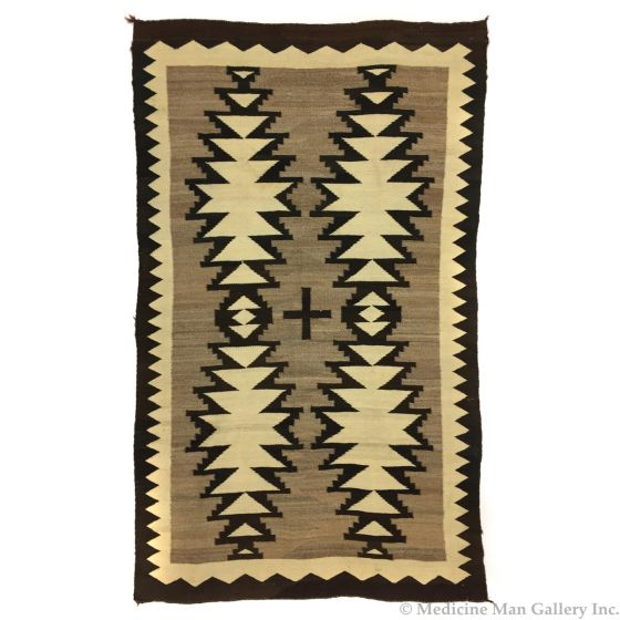 """Navajo Crystal Rug with Central Cross, c. 1900-10s, 76.5"""" x 47"""" (T5609)"""