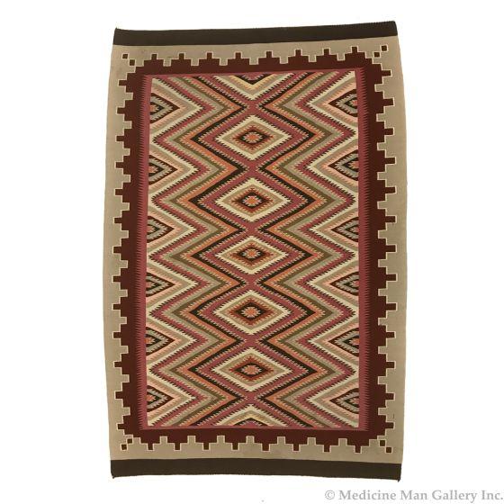 """Minnie Corn - Navajo Red Mesa Rug c. 1970-80s, 69.5"""" x 47"""""""