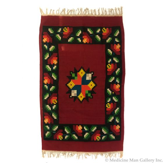 """Mexican Blanket with Flower Designs c. 1950s, 81"""" x 53.5"""""""
