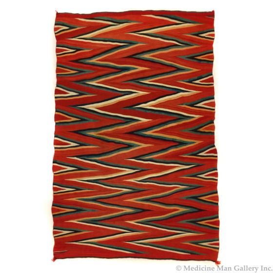 """SOLD Navajo Raveled Yarn Germantown Wedge Weave Blanket c. 1890s, 85.5"""" x 56.5"""" (T91146A-0121-001)"""