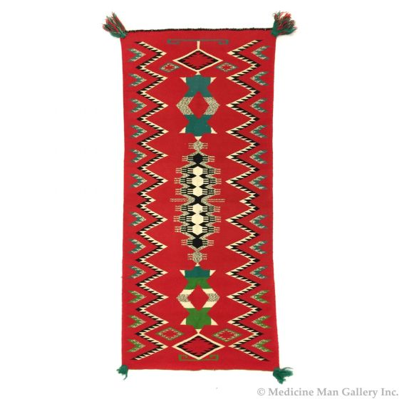 "Navajo Germantown Runner c. 1890s, 65"" x 29.25"""