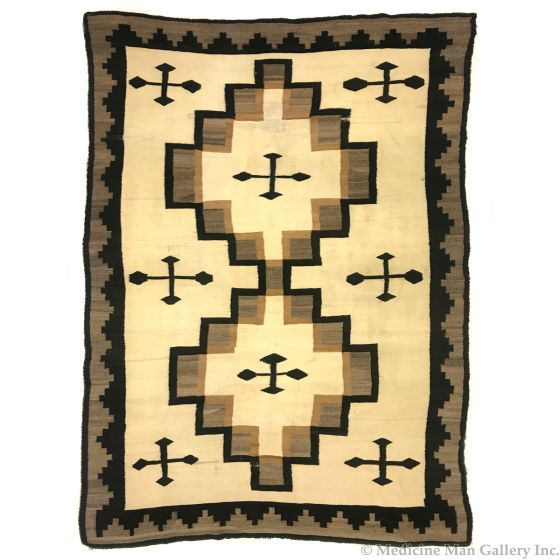 """Navajo Crystal Rug with Crosses c. 1900-10s, 102"""" x 64"""" (T91963-0521-001)"""