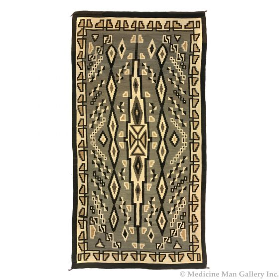 """Navajo Two Grey Hills Large Rug c. 1930s, 145"""" x 78"""" (T92210-1012-010)"""