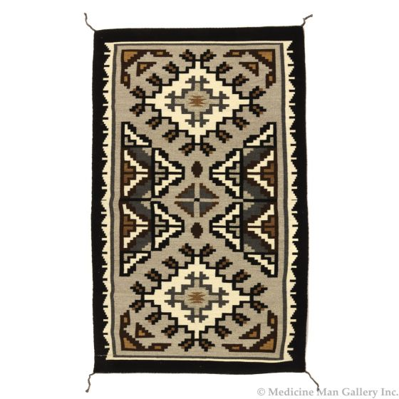 """Lorraine Taylor - Navajo Two Grey Hills Rug, Contemporary, 47"""" x 28"""" DONATION WILL BE MADE TO BLESSINGWAY (T92308-0314-015)"""