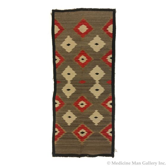"""Navajo Crystal Runner with Diamond Designs c. 1920s, 60"""" x 25"""" (T92323A-1020-021)"""