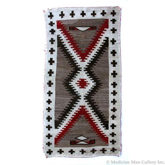 "Navajo Crystal Rug with J. B. Moore Influenced Border, c. 1910, 74"" x 37"" (T92396-0816-016)"