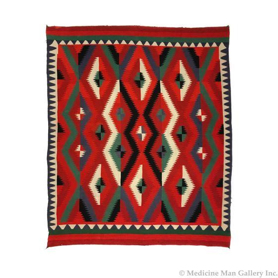 "Navajo Germantown Rug c. 1890s, 90"" x 79"" (T92608-0616-101)"