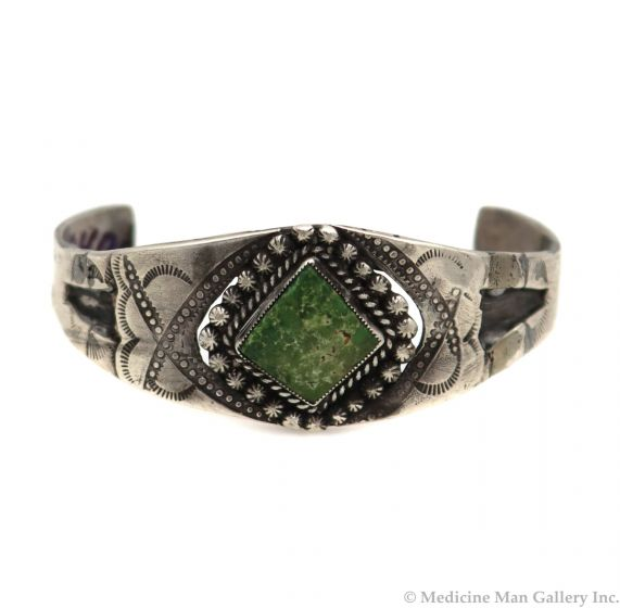 Navajo Turquoise and Silver Bracelet with Stamped Designs c. 1930s, size 6.5 (J91305C-0521-014)