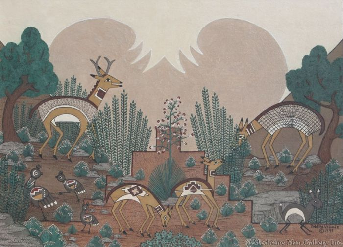 SOLD Pablita Velarde (1918-2006) - Mimbres Antelope, Quail and Rabbit