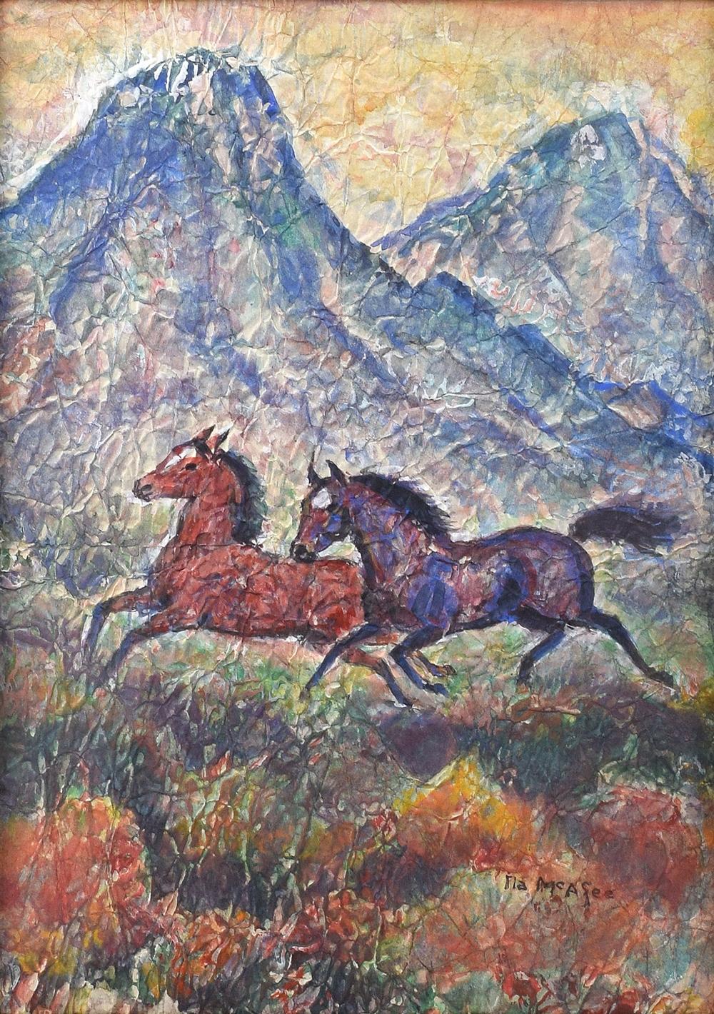 Ila Mae Mcafee 1897 1996 Taos Horses Cowboy And