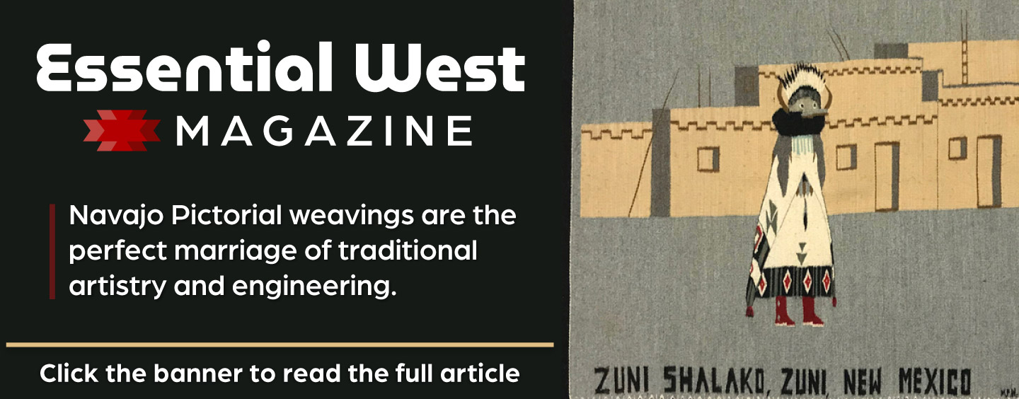 Read the Essential West article on pictorial motifs in Navajo rugs and blankets.