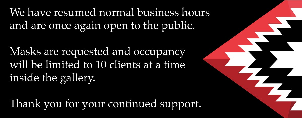 Medicine Man Gallery is has resumed normal business hours.