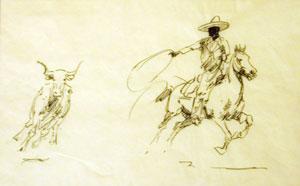 "Edward Borein, Big Cowboy / Steer, Ink on Paper, 7"" x 11"""