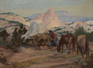 "Gerald Cassidy, Evening Meal, Navajo Land, Oil on Canvas, c. 1920, 30"" x 40"""
