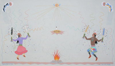 "Harrison Begay, Fire Dance, Gouache on board, c. early 1990, 18"" x 30"""