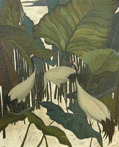 "Jesse Arms Botke, Sacred Cranes, Oil on Canvas, Circa 1930, 16"" x 13"""