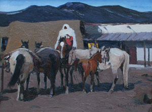 "LaVerne Nelson Black, Taos Indian Night Watch, Oil on Canvas Board, 16"" x 20"""