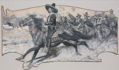 "Maynard Dixon, Joaquin Murietta, Circa 1903, Gouache illustration, 13"" x 23"""